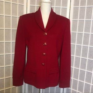 St. John Marie Gray Red button up blazer size 8